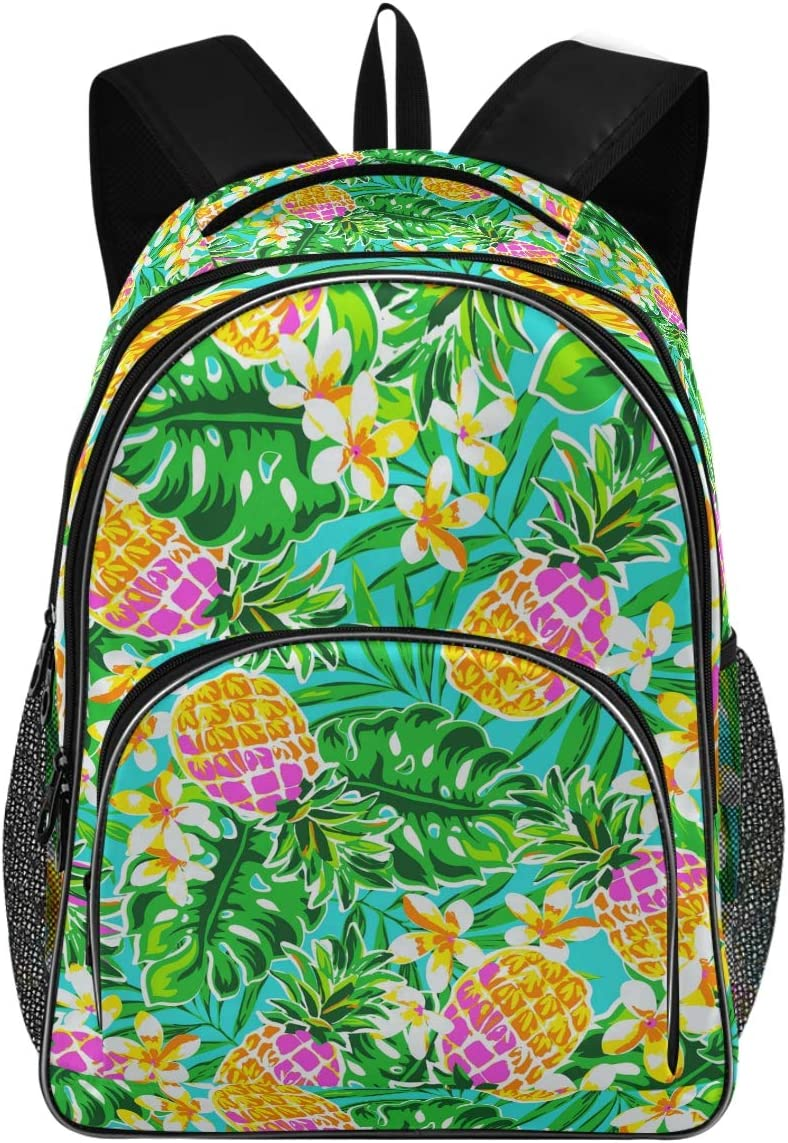 College School Laptop Backpack 15.6 Inch - Pineapple Leaves Waterproof Students Backpacks with USB Charging Port for Women Gifts