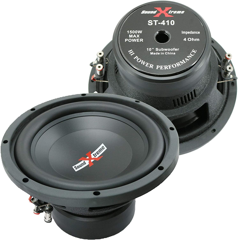 classic fashion 1x SoundXtreme Premium Elite ST-410 10 Inch Car Audio  Subwoofer 1500 Watts Max Power Dual 4 Ohm Voice Coil High Power Bass  Surround Sound 10 Sub Speaker System shop online