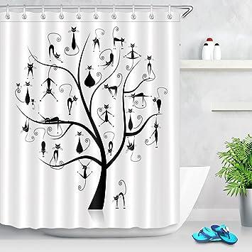 Familia gatos árbol cortina de ducha 27 negro siluetas animal divertido tela de poliéster con dibujos ...