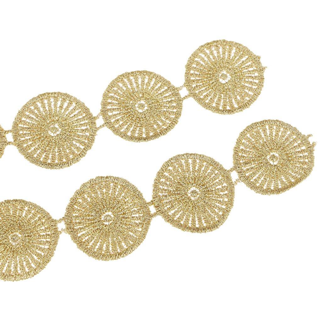 IPOTCH 1 Yarda De Corona De Flores Bordadas De Encaje De Cinta Nupcial Apliques Costura 11.8cm de Ancho