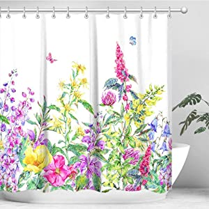 "LIVILAN Floral Shower Curtain Set with 12 Hooks, Decorative Fabric Bath Curtain Modern Bathroom Accessories, Machine Washable, Pink Purple Hyacinth Flowers and Green Leaves, 72"" X 72"""