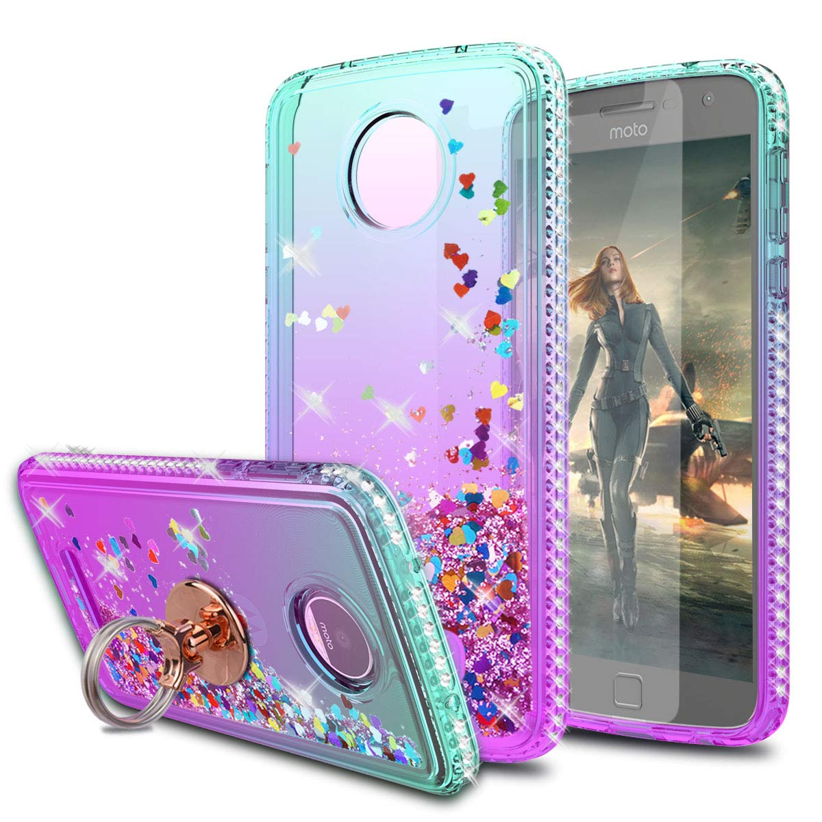 KaiMai Moto Z Play Case,Moto Z Force Case with HD Screen Protector with Ring Holder, Glitter Moving Quicksand Clear Cute Shiny Phone Case for Moto Z Play-Aqua/Purple Ring by KaiMai