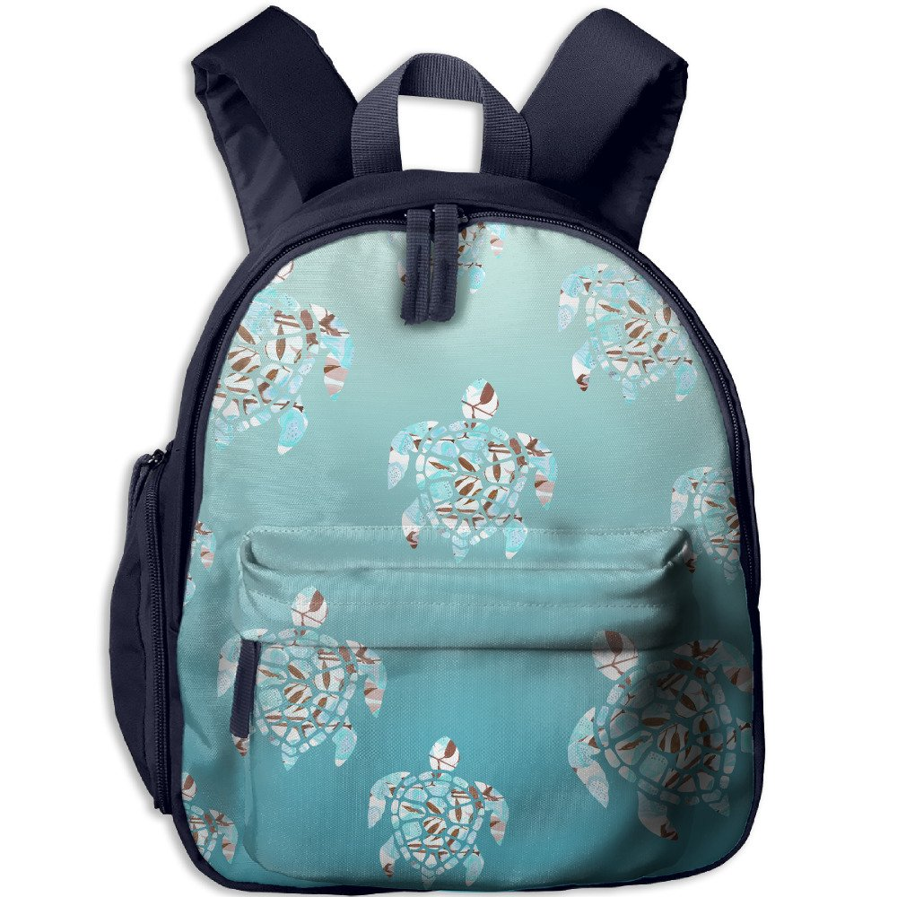 Watercolor Turtle In The Sea Printed Kids Backpack Toddler School Bags For Kindergarten by QWECA