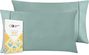 400 Thread Count 100% Cotton Pillow Cases, Green Sage Standard Pillowcase Set of 2, Long - Staple Combed Pure Natural Cotton Pillows for Sleeping, Soft & Silky Sateen Weave Bed Pillow Covers