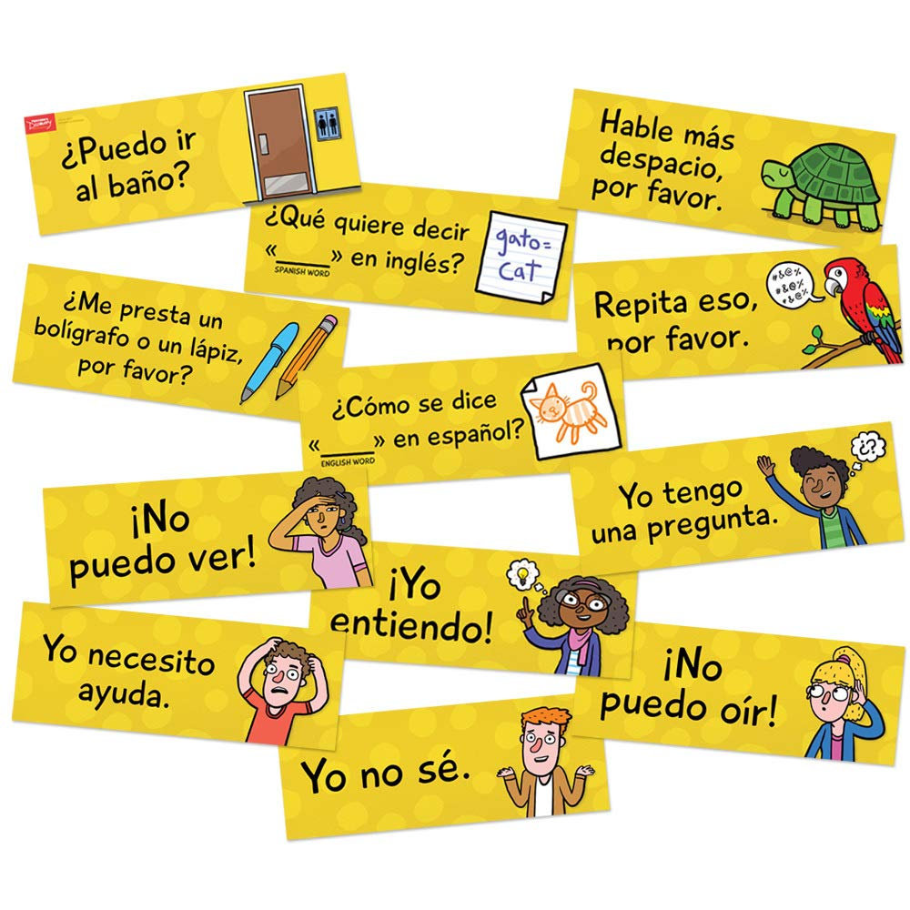 Classroom Phrases Spanish Signs - Set of 12 by Teacher's Discovery