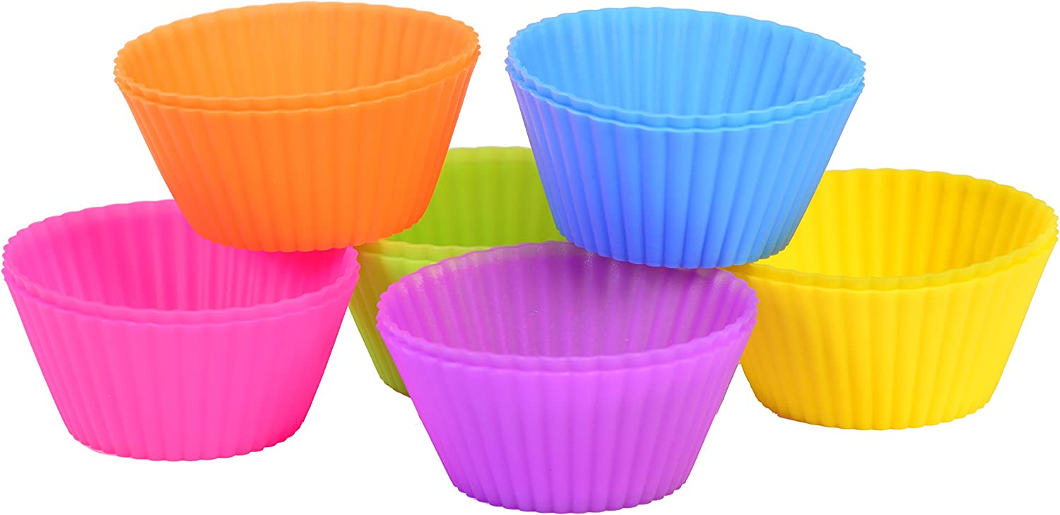 12 Count Assorted Colors Baking Silicone Cups