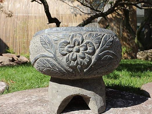 Yajutang - Maceta de Piedra para decoración de jardín, de China, diámetro de 33 cm: Amazon.es: Jardín