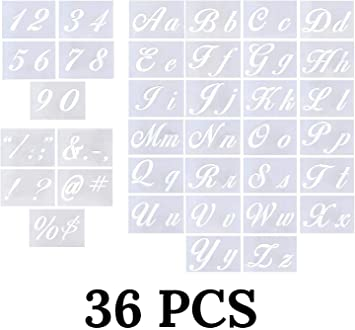 Number And Letter Stencils 6 pk
