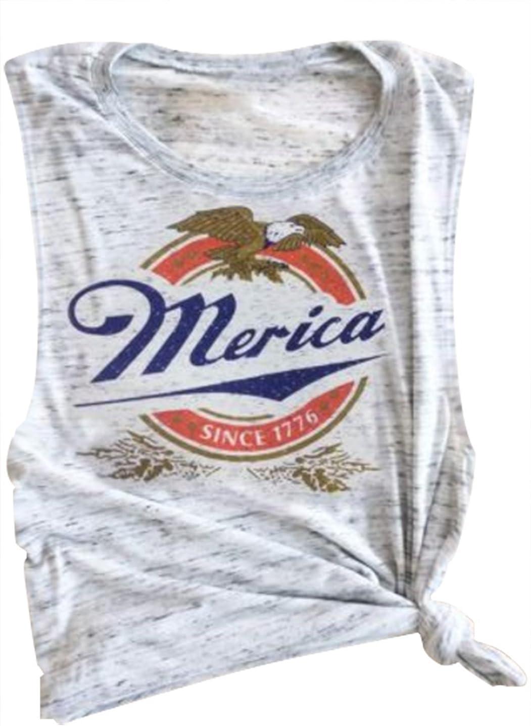 Erxvxp Women Tank Tops Sleeveless Merica Since 1776 Racerback T-Shirt Vest for Independence Day