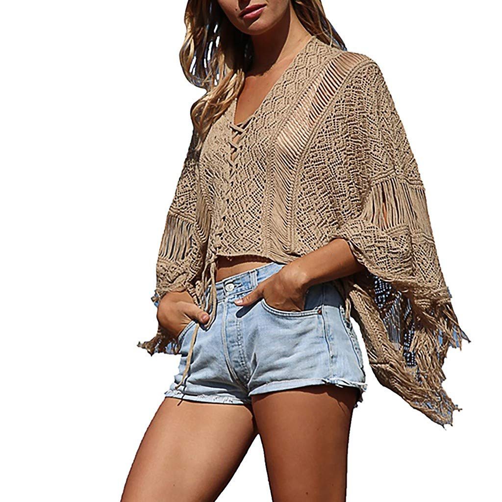 Womens Sexy Tops 2019, YEZIJIN Women Knitwear Vest V-Neck Sweater Camisole Tassel Strappy Fashion Smock Top Khaki