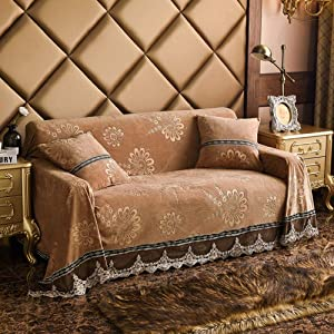 HM&DX Plush Sofa Cover Vintage Lace Jacquard Thick Sofa slipcover Throw Non Slip Stain Resistant Couch Cover Furniture Protector-Khaki 230x380cm(91x150inch)
