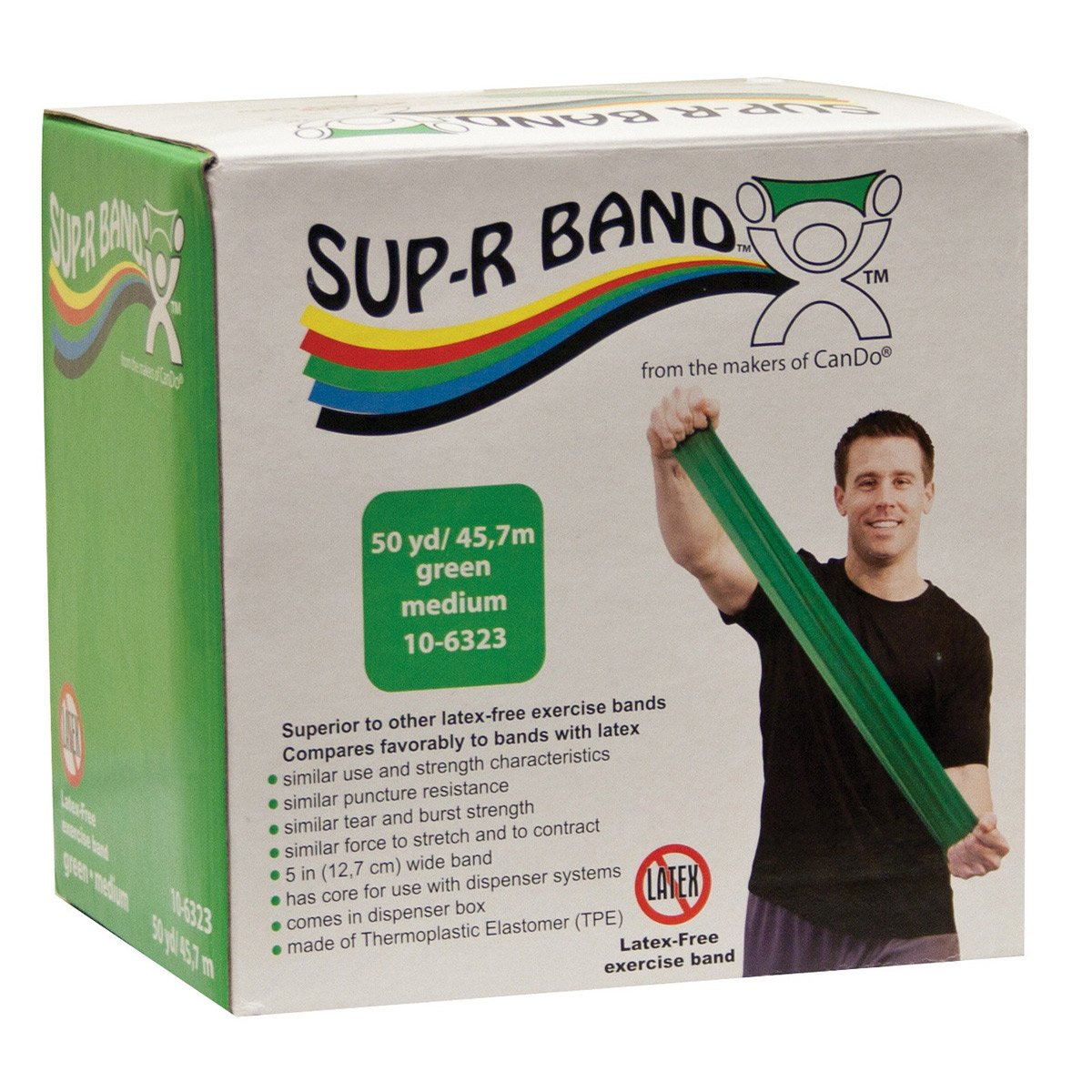 CanDo Sup-R Band Latex Free Exercise Band, 50 Yard Roll, Green, Level 3, Medium Resistance
