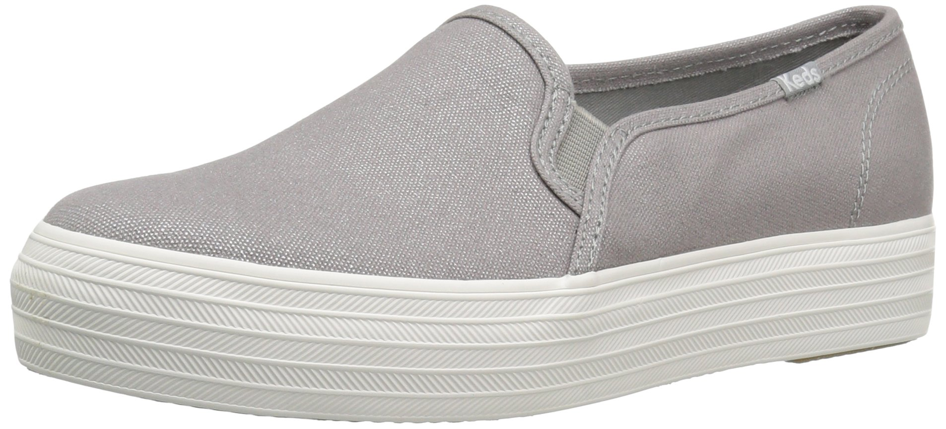 Keds Women's Triple Decker Metallic Canvas Fashion Sneaker, Silver, 9 M US