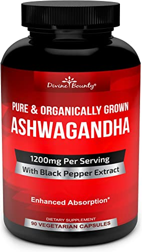 Organic Ashwagandha Capsules – 1200mg Ashwagandha Powder with Black Pepper for Enhanced Absorption – Ashwaganda Supplement for Anti Anxiety, Adrenal Support, Cortisol Manager, Stress Anxiety Relief