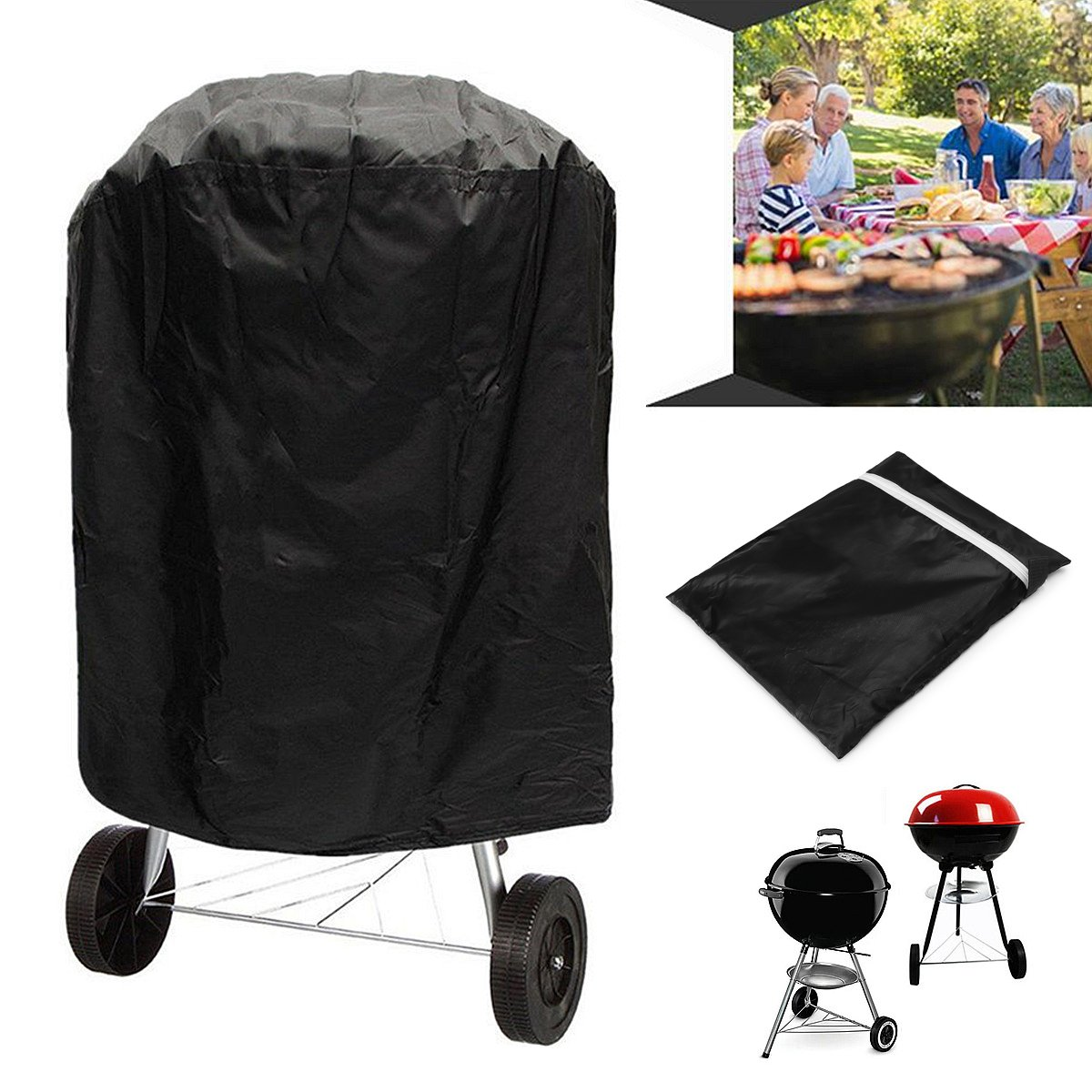 Outdoor Waterproof Round Kettle BBQ Grill Barbecue Cover Protector UV Resistant LeB