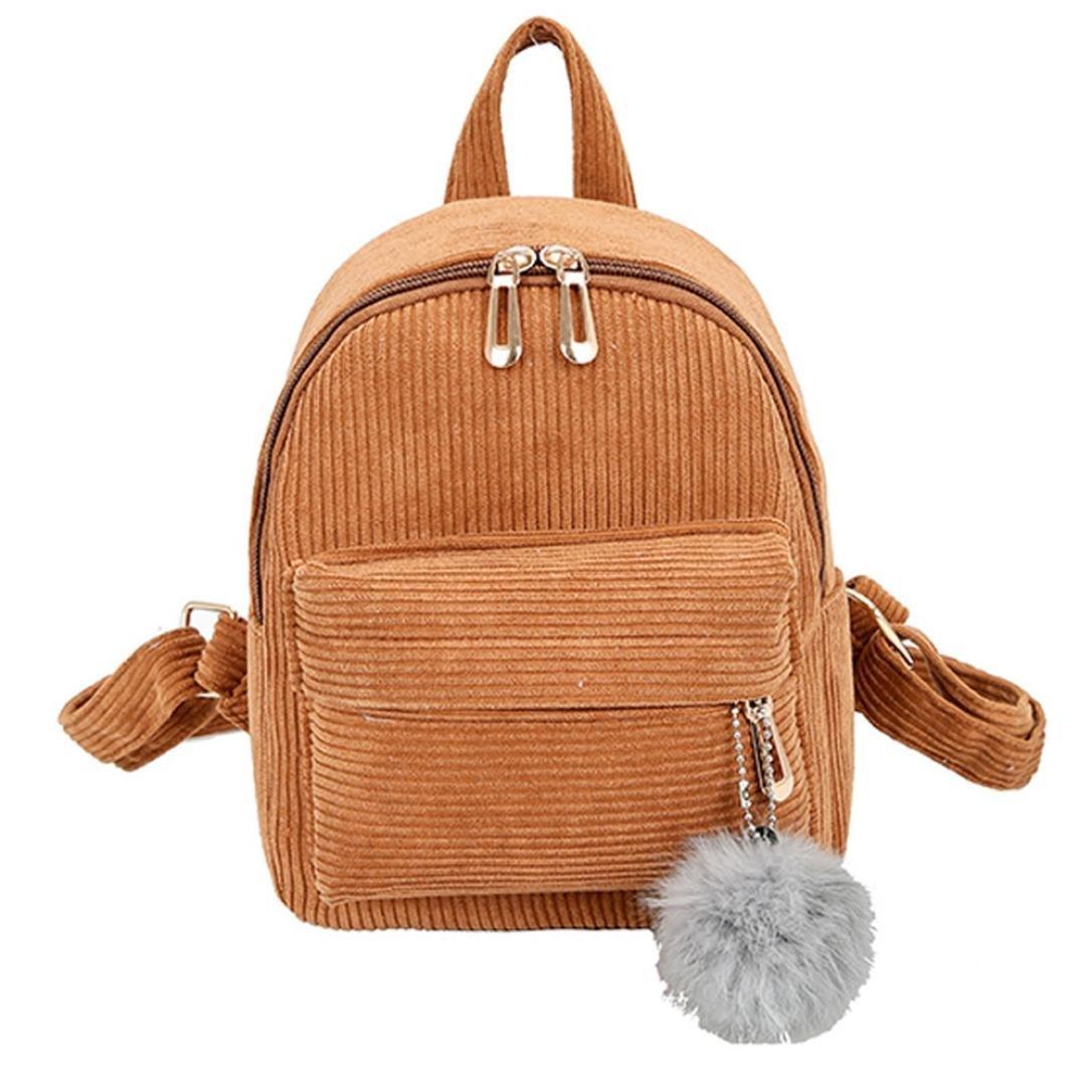 Pocciol Women Love Backpack, Girl Women Casual Corduroy School Bag Satchel Student Travel Shoulder Bag (Brown)