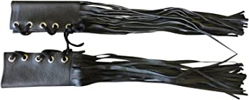 Fringed Black Leather Motorcycle Handle Bar Covers