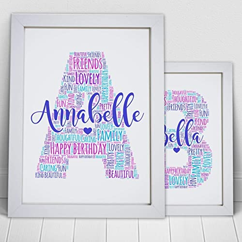 Letter Art Print.Personalised Letter Name Initial Word Art Print A5 A4