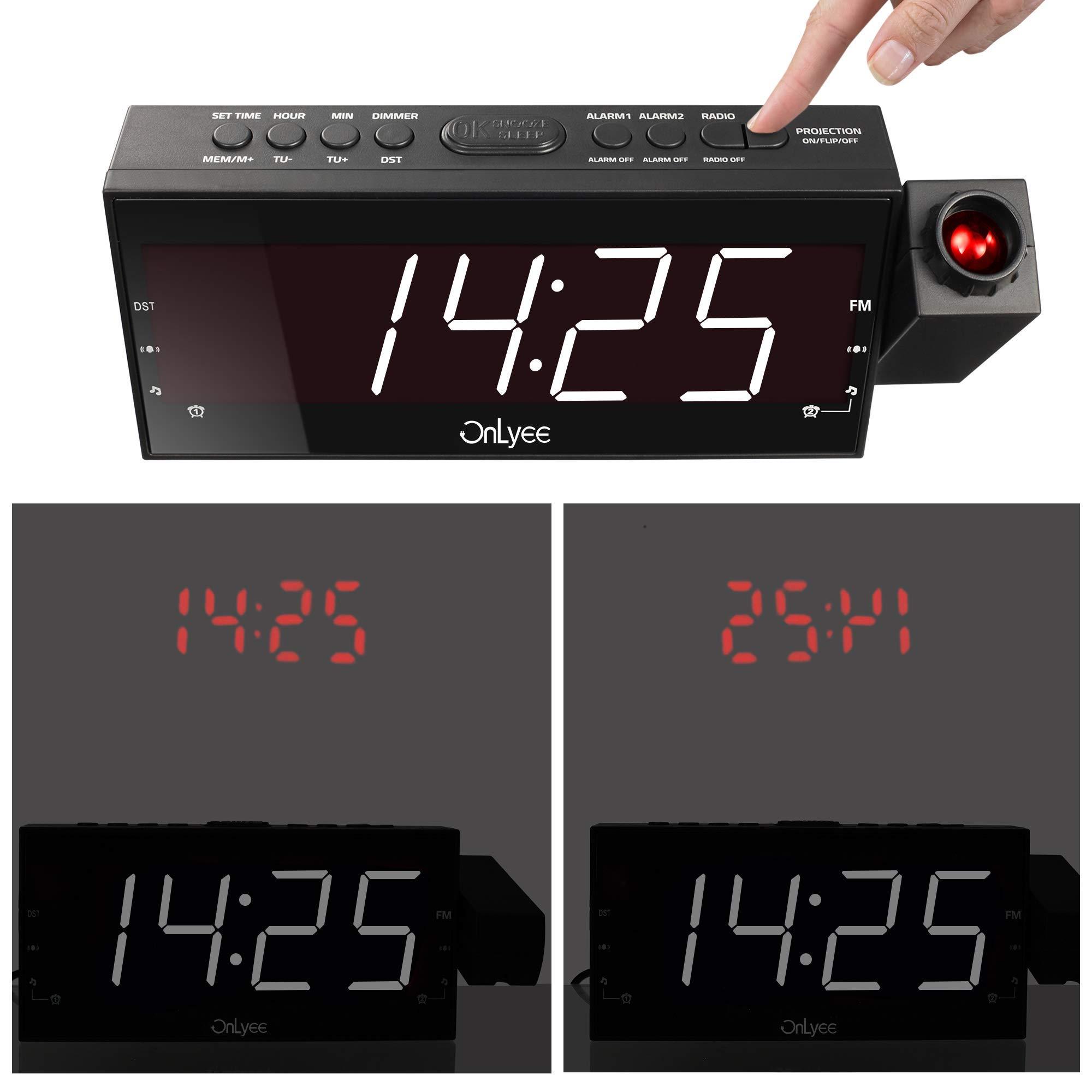 Mesqool Projektionswecker, 7\'\' große LED-Anzeige, FM Radiowecker, Decke Mauer Projektionsanzeige mit 3 Helligkeitsstufen, Dual-Alarm mit USB-Ladeanschluss, Schlaf-Timer, Datensicherung mit Batterie am Stromausfall, Digitaler Wecker für Sc