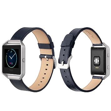 Fitbit Blaze Correa, J&D [Series Clásicos] Cuero Genuino Smartwatch Correa de Recambio para Fitbit Blaze Smart Fitness Watch - Azul