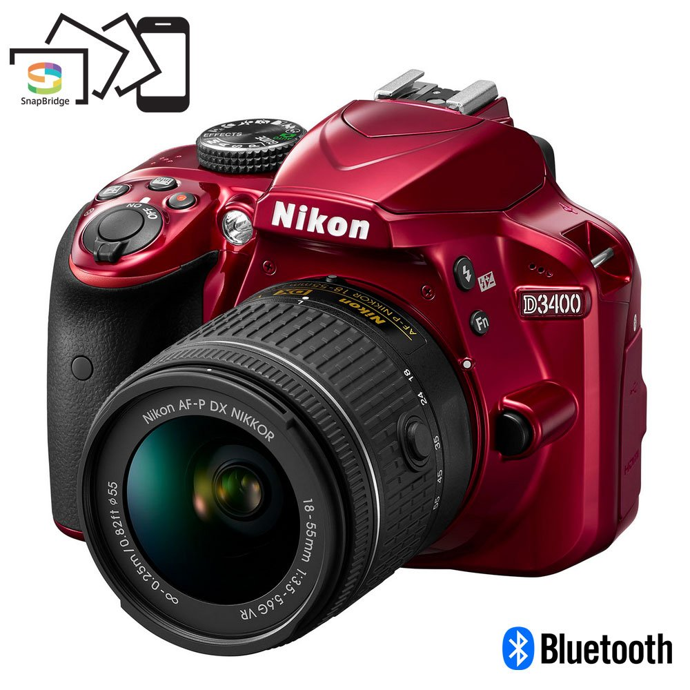 Nikon D3400 Digital SLR Camera & 18-55mm VR DX AF-P Zoom Lens (Red) - (Certified Refurbished)