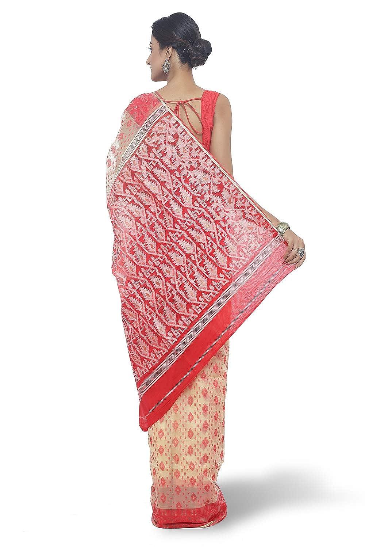 Best Jamdani Silk Saree With Running Blouse