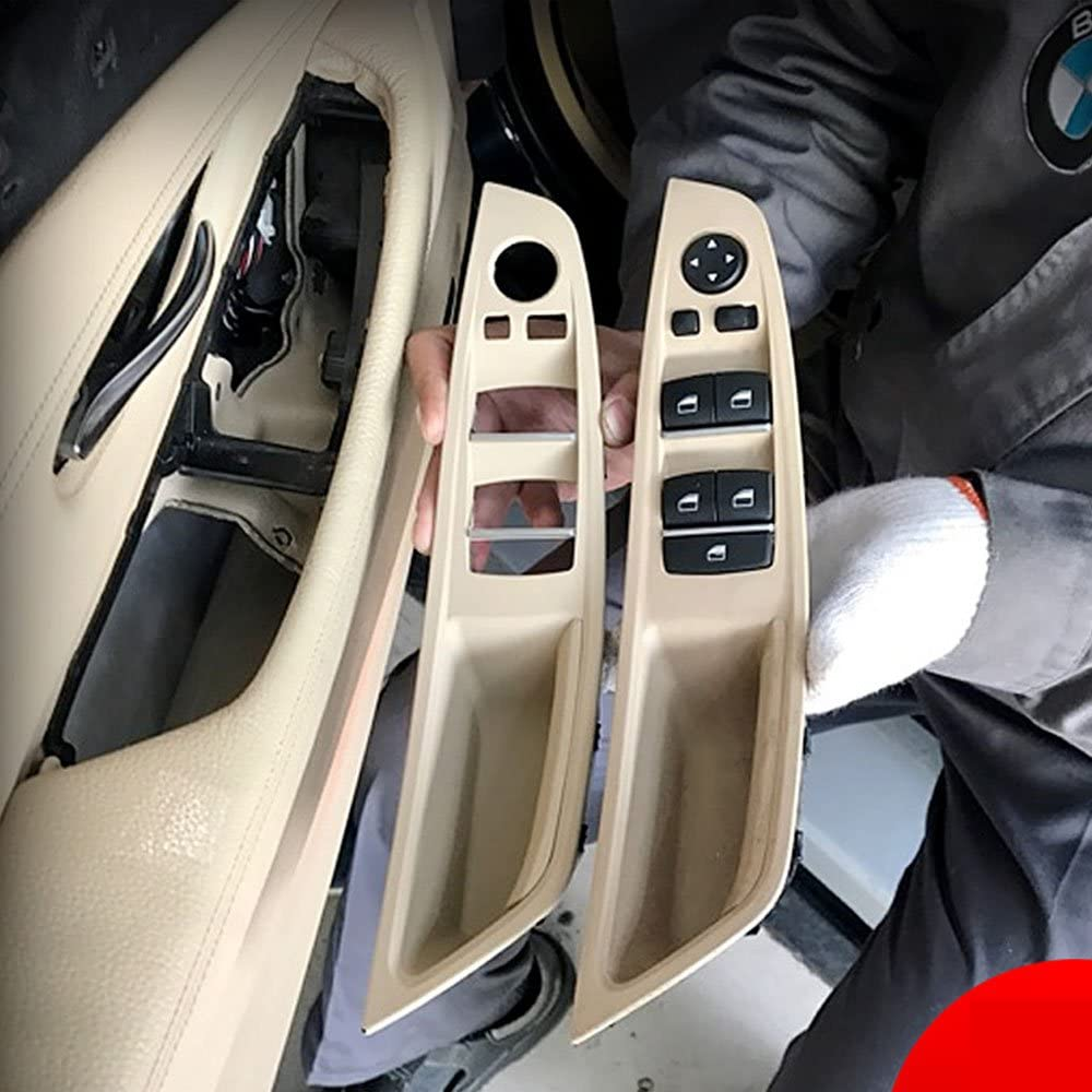 2010-2016 Off-White//LCCX Color Jaronx Driver Side Door Handle for BMW 5 Series,Window Switch Armrest Panel Left Front Door Armrest Pull Handle for BMW F10//F11 520 523 525 528 530 535