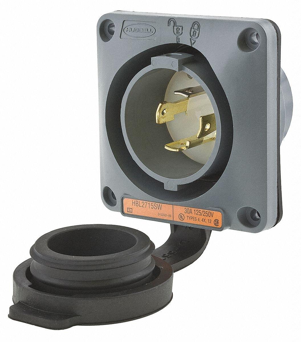 30A Watertight Flanged Locking Inlet 3P 4W 125/250VAC