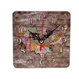 DDLBiz Square Retro Non-Ticking Silent Antique Wood Wall Clock For Home Office
