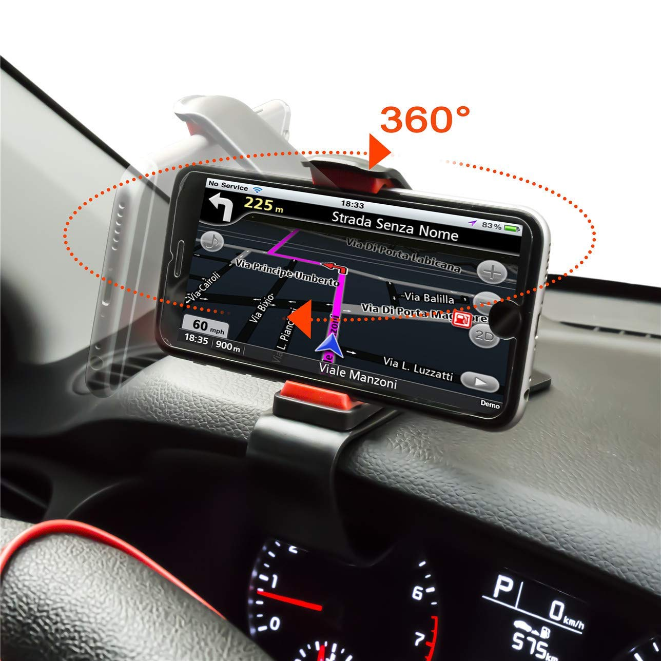 ZOORE Soporte Teléfono Coche para Salpicadero,360 HUD Soporte Móvil Coche GPS, Pinza Fuerte de Base Titular Móvil Vehícul Compatible iPhone 6/6s/5/7/8Plus/X,Huawei, Samsung, HTC LG 3.0\