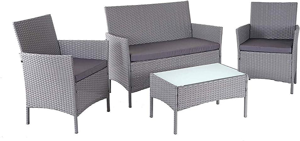 Décoshop26 Salon de Jardin avec fauteuils Banc et Table en ...