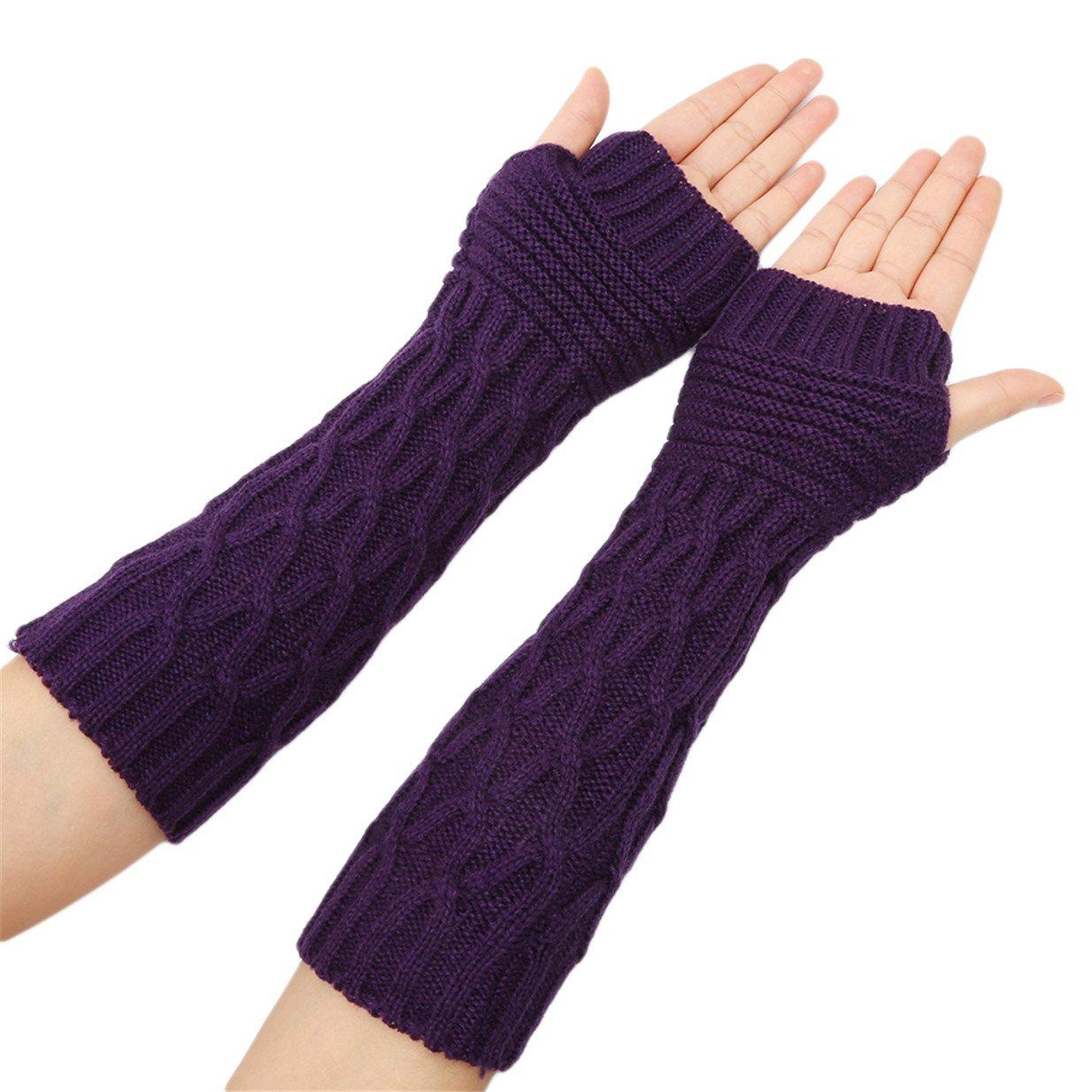 Lalang Damen Strick Winter fingerlose Handschuhe weiche warme Fausthandschuhe Armstulpen Handw/ärmer