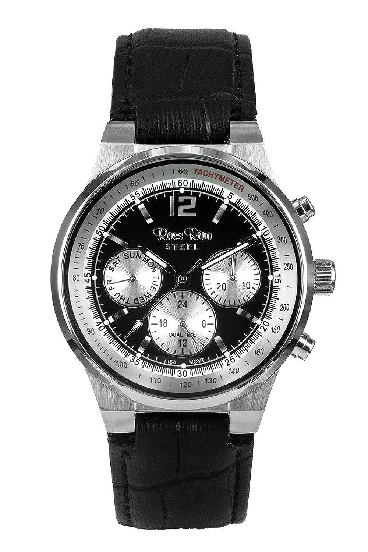 Ross Rino Kepheus Unisex Quarzuhr mit schwarzem Zifferblatt Analog-Anzeige und schwarz Leder Armband