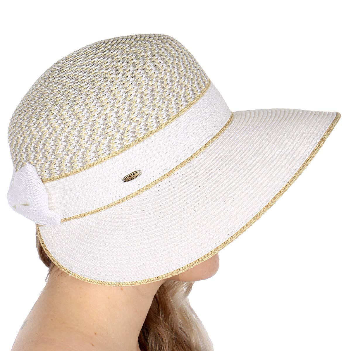 Wide Brim Straw Beach Sun Hats for Women with Bow Foldable Floppy Panama for Sun Protection