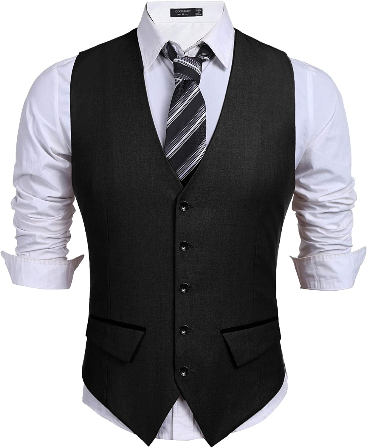 COOFANDY Men's Business Suit Vest Slim Fit Dress Vest Wedding Waistcoat
