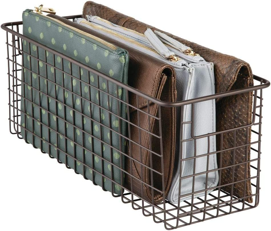 "mDesign Narrow Household Metal Wire Storage Organizer Bin Basket Holder with Handles - for Closets, Entryways, Mudrooms, Kitchen Pantry, Under Sink Cabinets, Bathrooms - 16"" x 5"" x 6"" - Bronze"