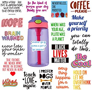 Cute Stickers for Hydro flasks[19pcs] Cute, Positive, Lovely, Trendy, Aesthetic, Waterproof Vinyl Sticker for Teen, Girls, Feminists - for Water Bottles Laptop MacBook Computer iPhone iPad Guitar