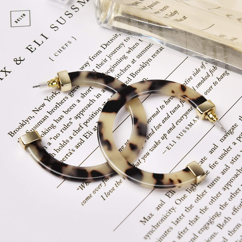 LCZTN Women Resin Tortoise Hoop Earrings Statement Drop Dangle Acrylic Earrings for Girls Acetate Fashion Jewelry