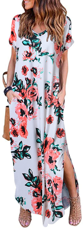 HUSKARY Womens Summer Maxi Dress Casual Loose Pockets Long Dress Short Sleeve Split