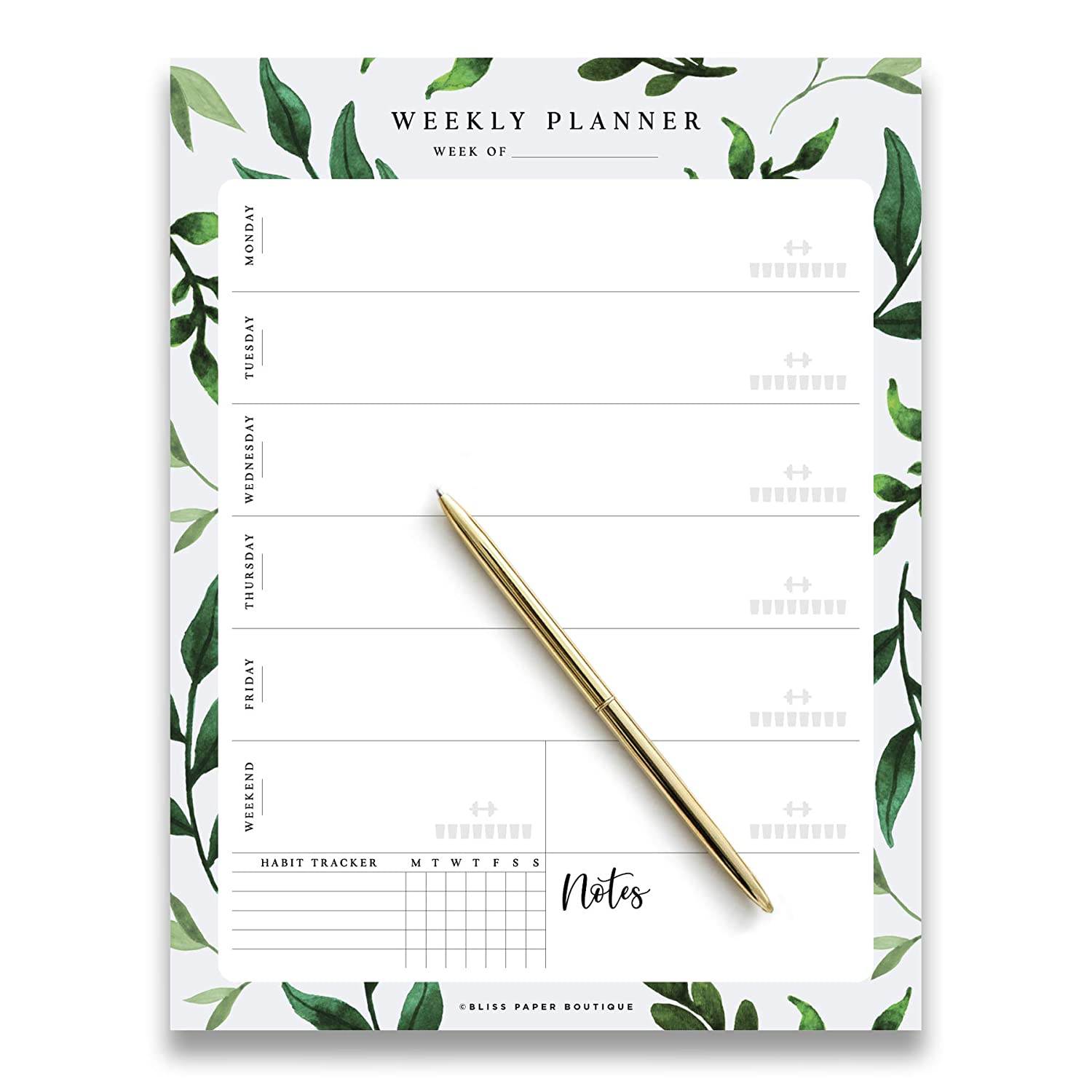 Weekly Planner Pad Tear Off Greenery Design, 50 Undated Pages, To Do List, Desk Notepad, Week Day and Weekend Organizer and Scheduler, Habit Tracker, Vertical Orientation from Bliss Paper Boutique