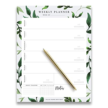 Amazon Com Weekly Planner Pad Tear Off Greenery Design 50 Undated