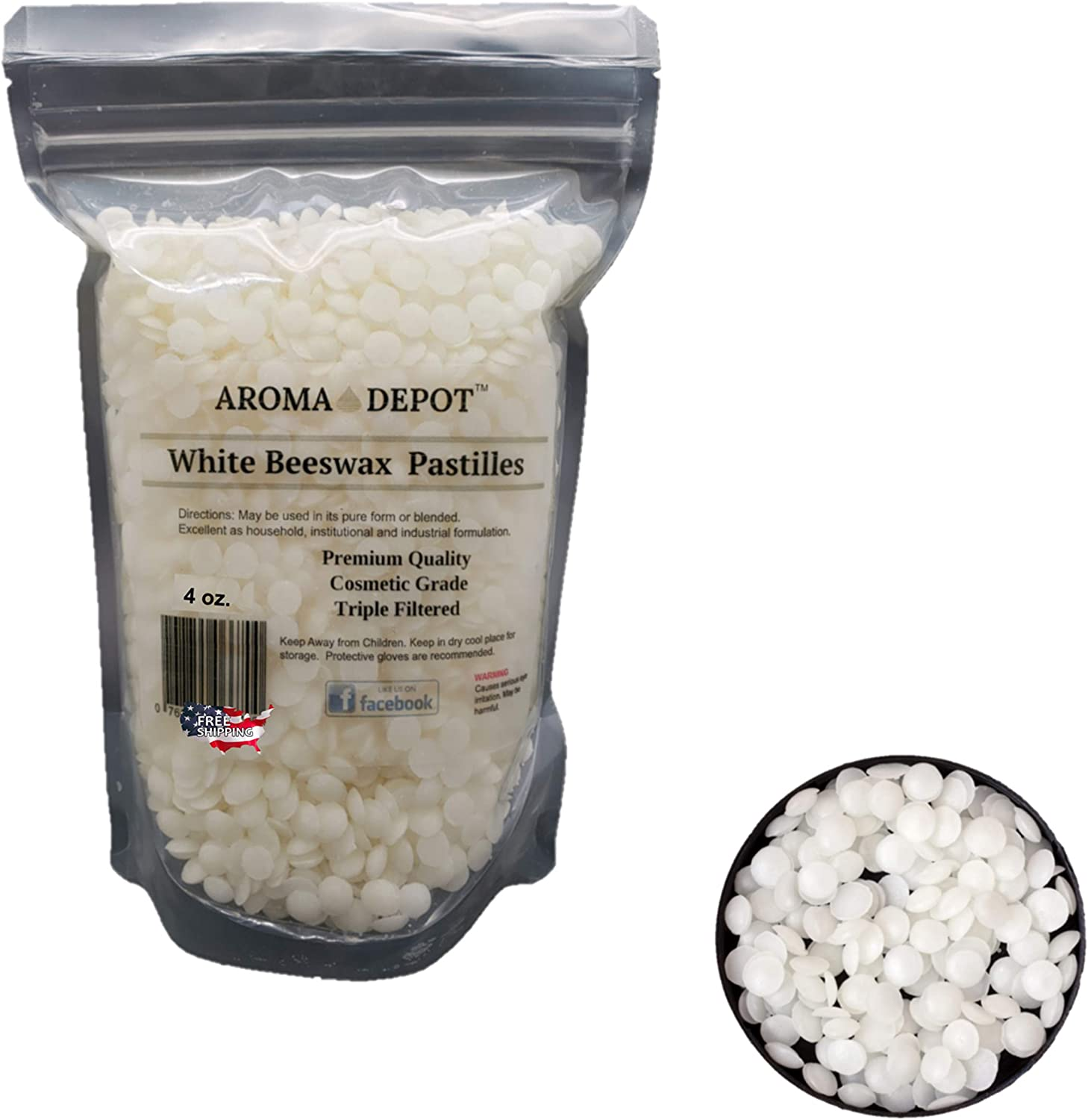 Aroma Depot 4 oz White Beeswax Pellets 100% Natural Pure Bees Wax 3 x Filtered, Great for Skin, Face & Body, Ideal for DIY, Lotion, Creams, Soaps, Lip Balm and Candle Making Supplies. Easy Melt