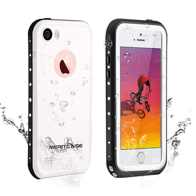 f5c5bed475 Amazon | Merit iPhone SE/5s/5 完全防水ケース iphone 5S防水ケース アイフォン5Sケース防雪 防塵 防埃 耐衝撃  IP68防水レベル (ホワイト) | ケース・カバー 通販