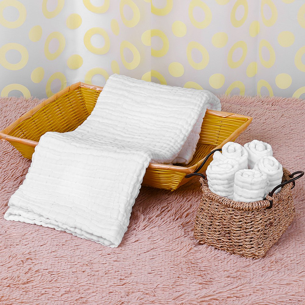 Baby Towels Muslin Washcloths Set - 5 Washcloths & 1 Large Baby Blanket Bath Towel of 6 Layers 100% Medical Grade Cotton Gauze, Natural Antibacterial, Water Absorbent, Super Soft, 6 PCS by PB PEGGYBUY