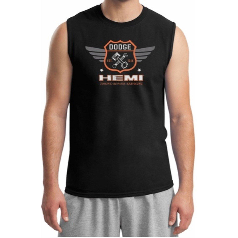 S Dodge Garage Hemi Muscle Shirt Sleeveless Tees Front Print