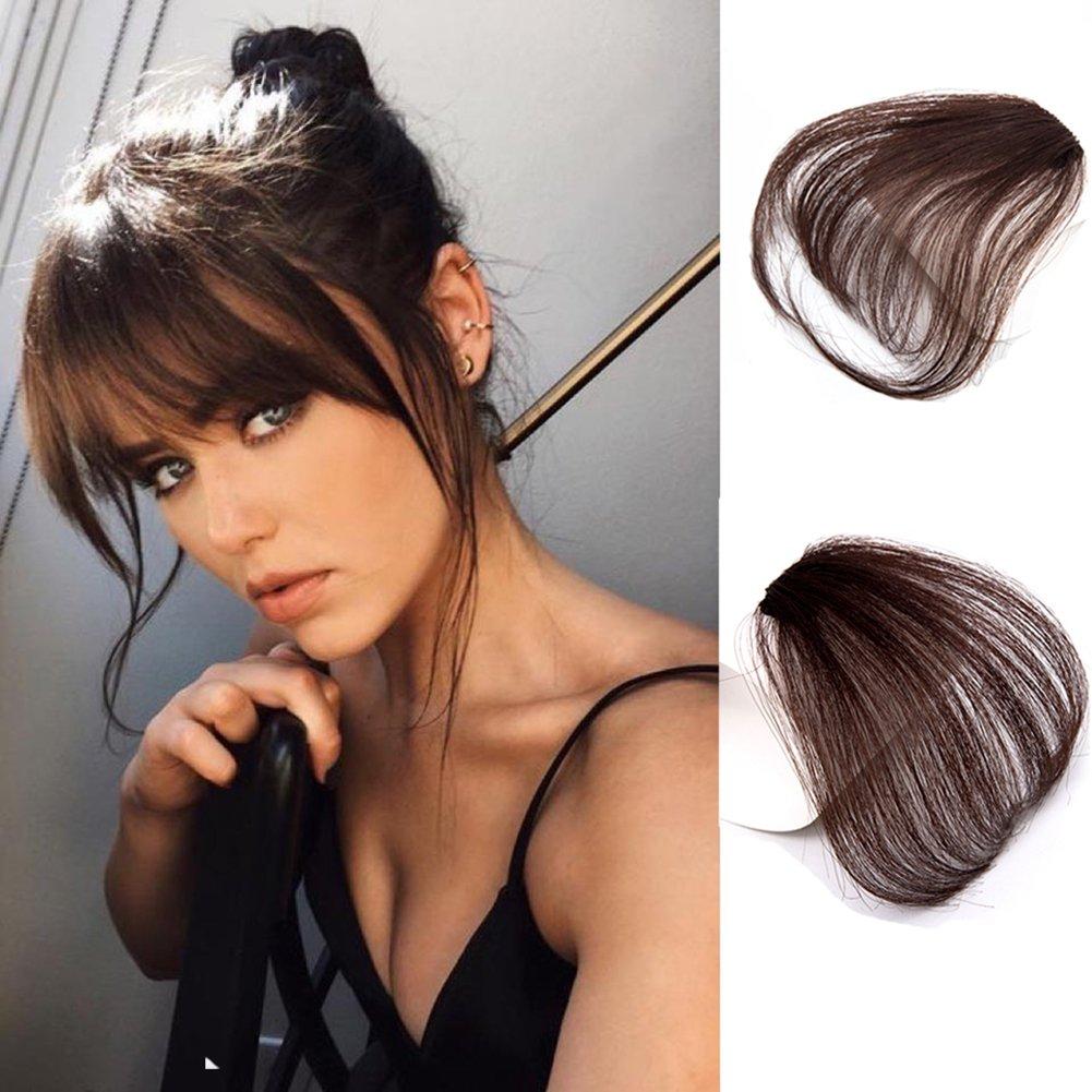 Amazon Com Pretty Plus Brazilian Human Remy Hair Bangs Short Hair Clip In Natural Color Hair Human Hair Extensions Hair Bangs With Temple Black Beauty