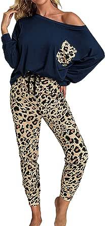 Conjunto de pijama largo de dos piezas para mujer con estampado de leopardo