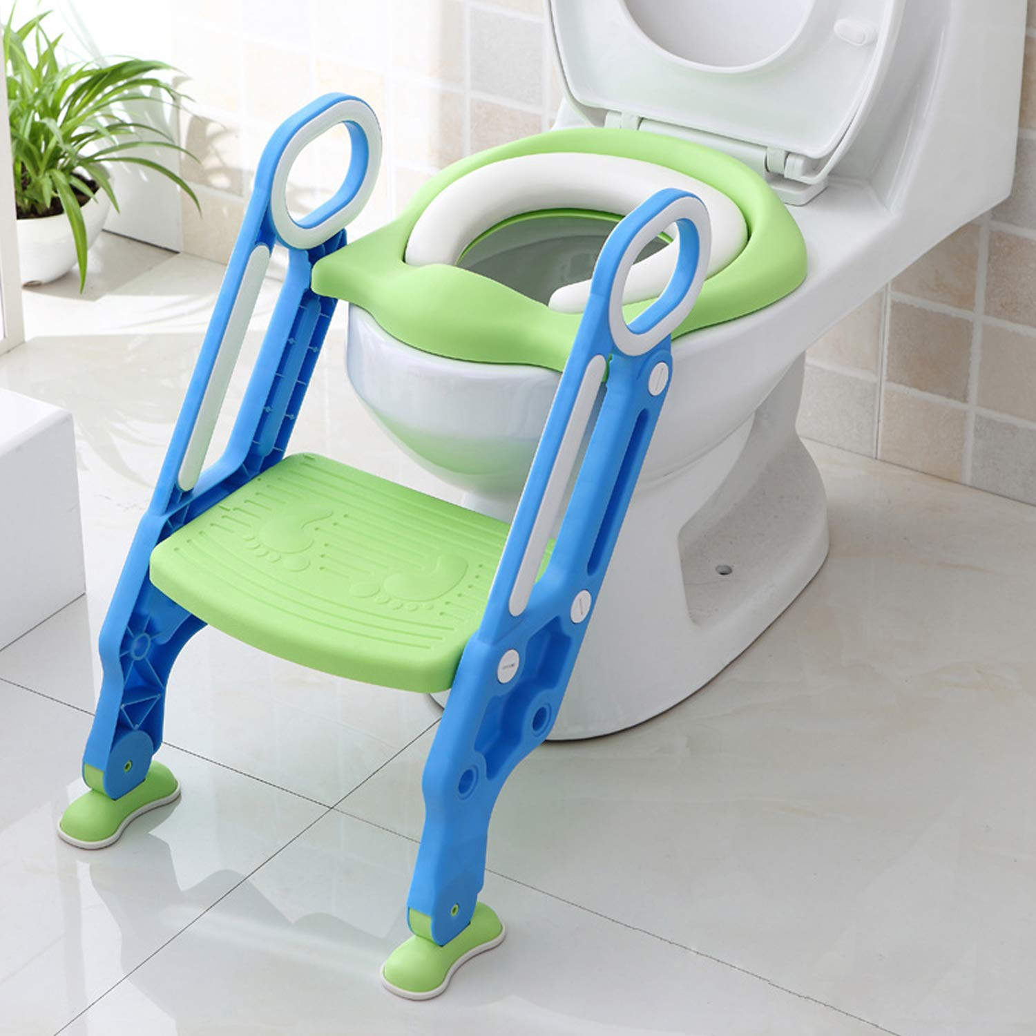 Potty Toilet Trainer Seat with Step Stool Ladder, Adjustable Toddler Toilet Ladder Trainer with Handles & Soft Cushion ,Non-Slip (Green) by jocabo
