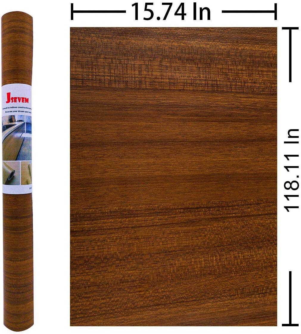 resistente al agua, autoadhesivo, para decoraci/ón de dormitorio, sala de estar, cuarto de ba/ño, cocina o encimera JSEVEM Papel de contacto de madera de nogal para muebles 15.74 x 118.11