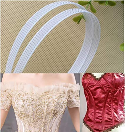Black Rigilene 50 Yards//roll Underwear Performance Clothes Polyester Bones,2//5 Corsets Bridal Gowns 10mm Width Banquet Dresses Used to Design Wedding Dresses White Poly Boning